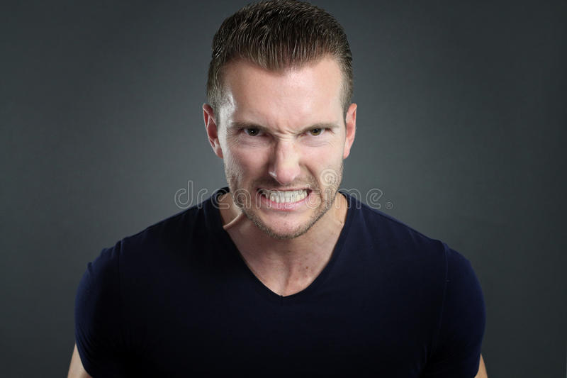 Young man furious royalty free stock images