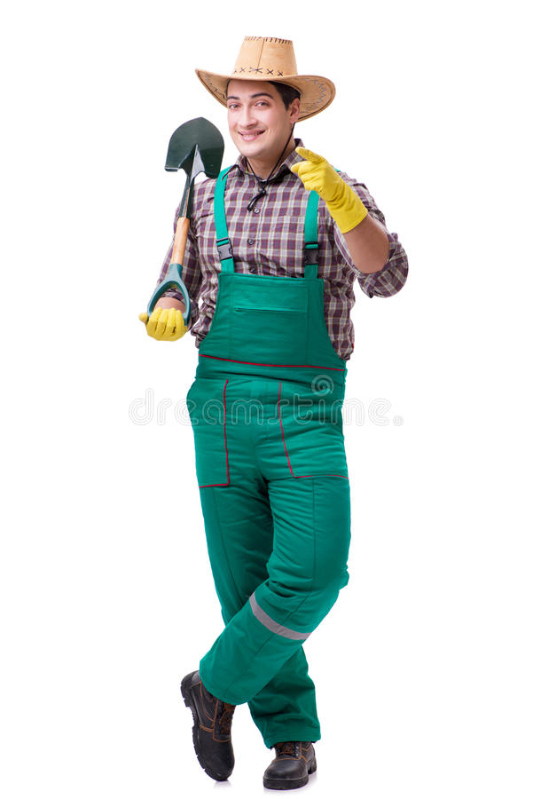 The young man gardener isolated on white stock photo