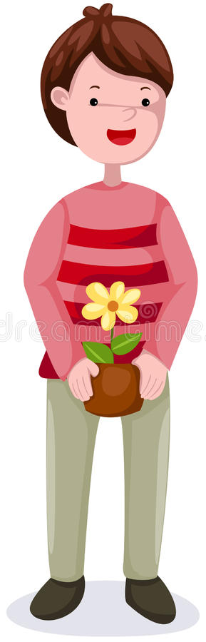 Download Young man gardening stock vector. Image of cheerful, growing - 23669433