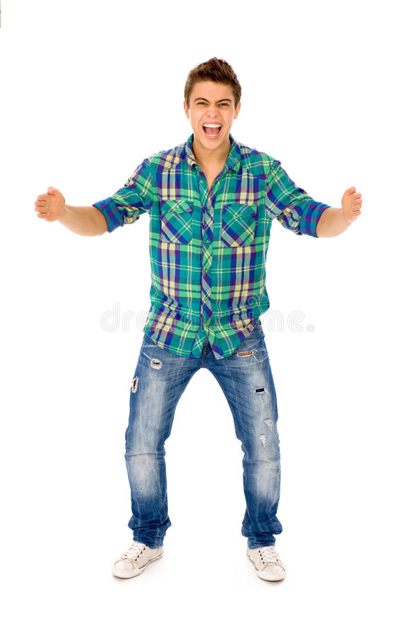 Young Man Gesturing Stock Images