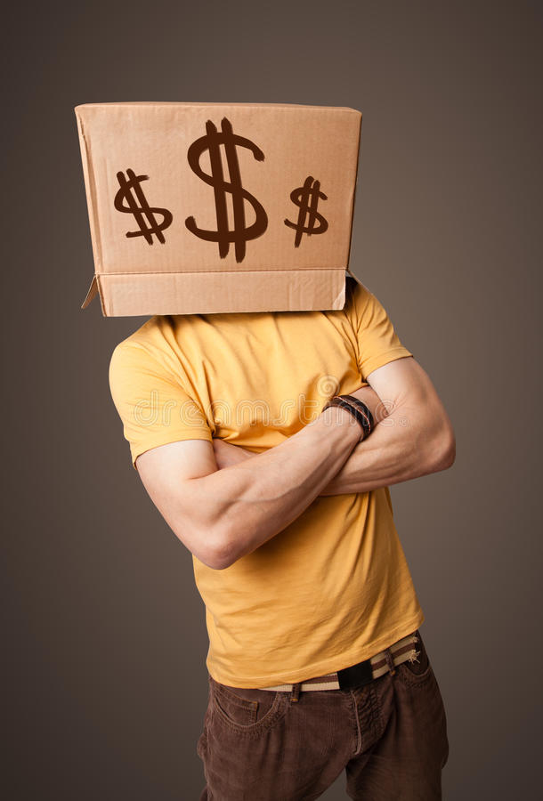 Download Young Man Gesturing With A Cardboard Box On His Head With Dollar Royalty Free Stock Photo - Image: 38038665