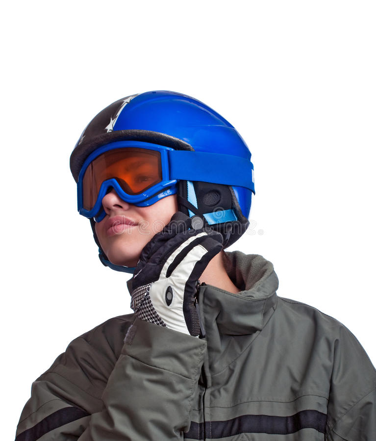 Young man getting ready to ski