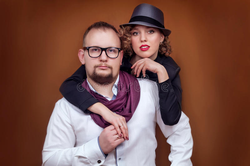 Young man and girl posing stock photo