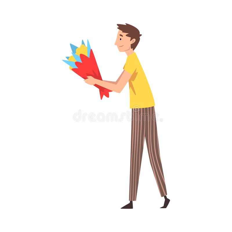 Young Man Giving Bouquet of Flowers Cartoon Vector Illustration. On White Background royalty free illustration