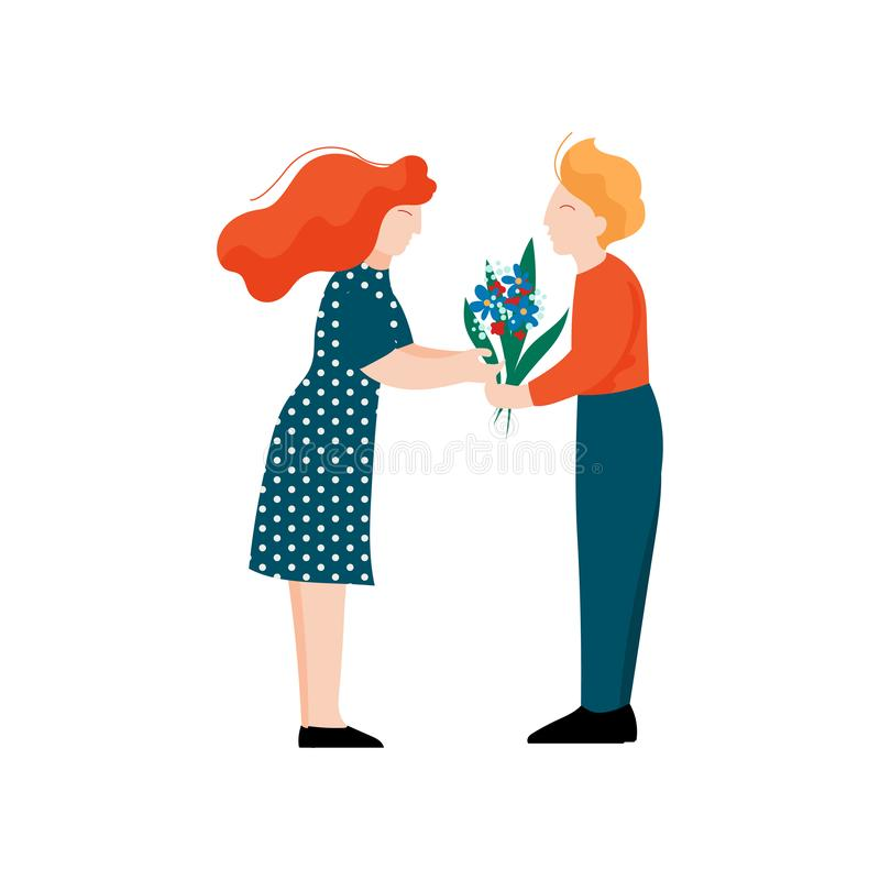 Young Man Giving Bouquet of Flowers to His Girlfriend, Romantic Couple, Happy Lovers on Date Vector Illustration. On White Background royalty free illustration