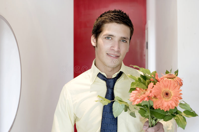 Download Young man giving flowers stock photo. Image of activity - 7869828