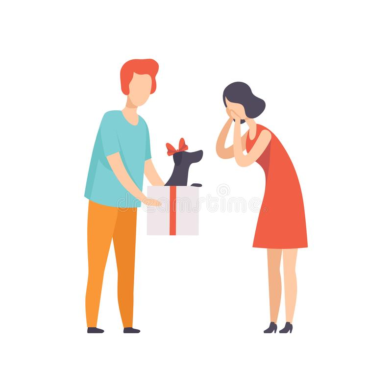 Young man giving gift box with black puppy to surprised young woman, people celebrating holiday concept vector stock illustration