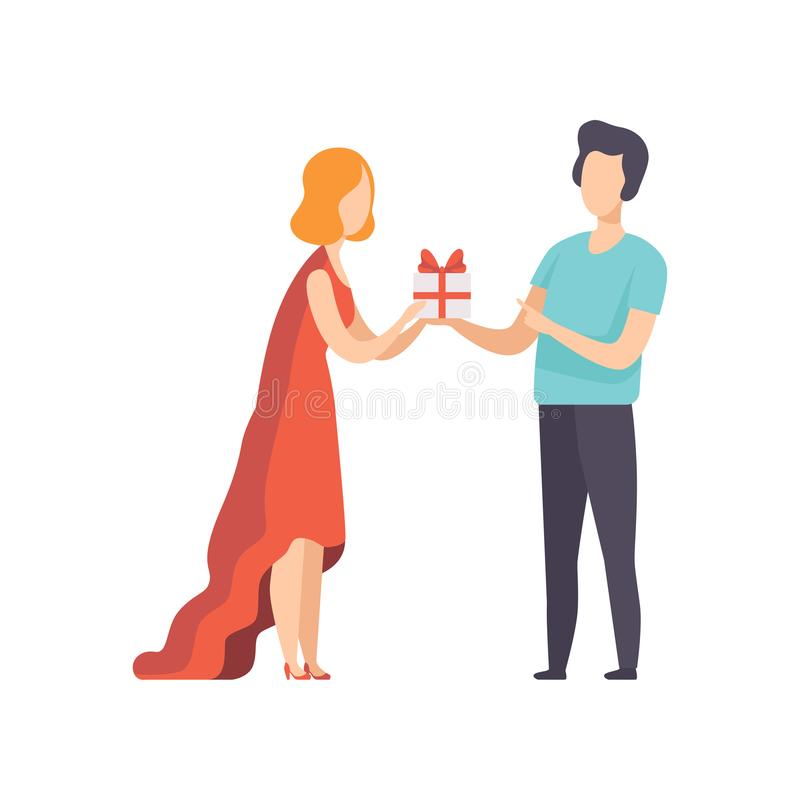 Young man giving gift box decorated with red ribbon bow to beautiful woman, people celebrating the holiday vector stock illustration