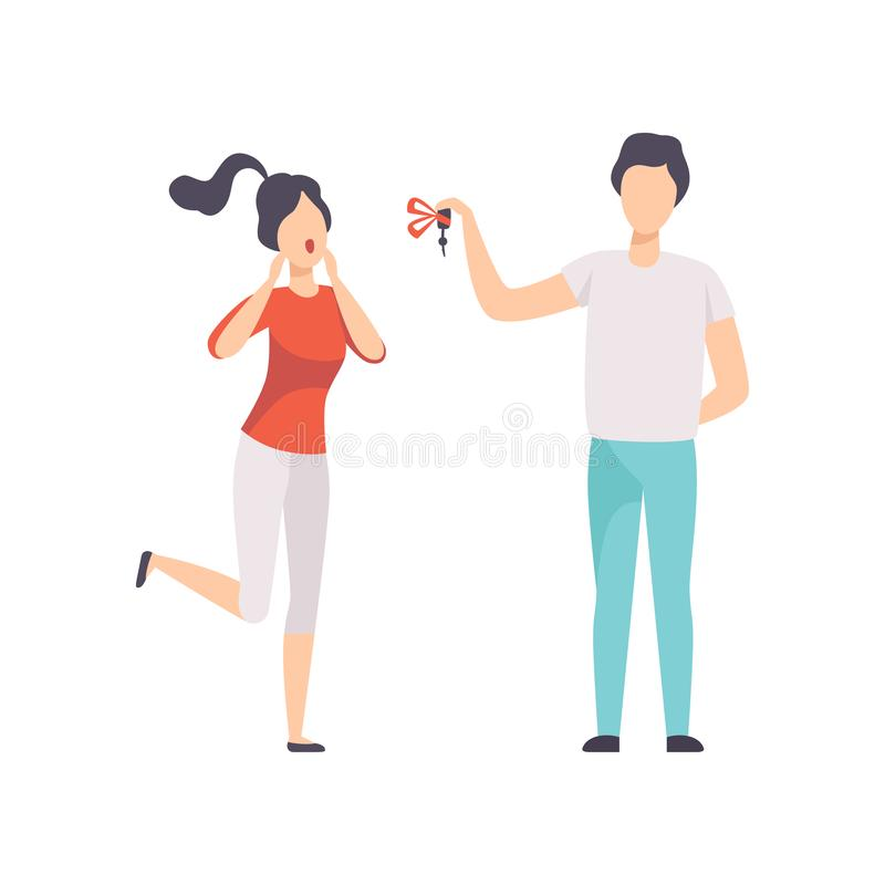 Young man giving the keys to the car to happy young woman, people celebrating holidays concept vector Illustration on a. Young man giving the keys to the car to vector illustration