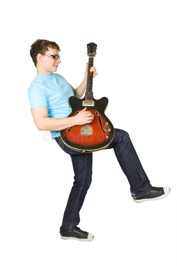 Download Young Man In Glasses Playing Guitar Isolated Stock Photo - Image: 15169038