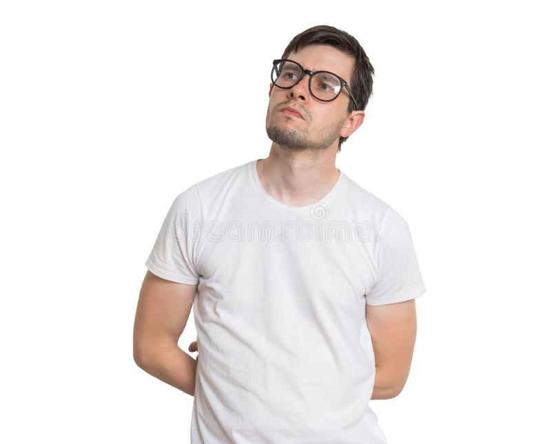 Young man with glasses is thinking. Isolated on white background royalty free stock photos
