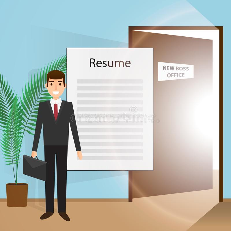 Young man goes to an interview in search of a new job stock illustration