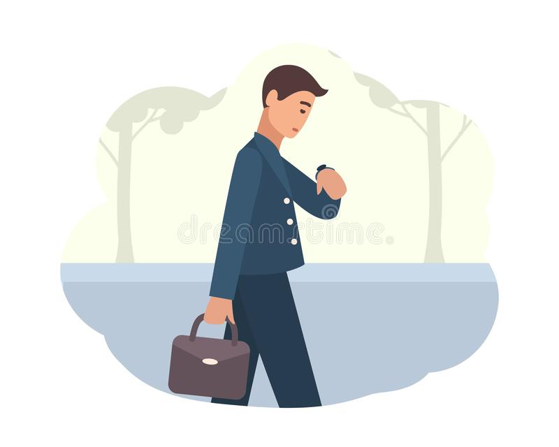 Young man going to work in morning. Male character walking on street and looking at wristwatch. Busy person or office royalty free illustration