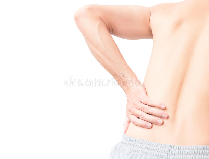 Young man hand holding back with pain on white background, health care and medical concept royalty free stock images