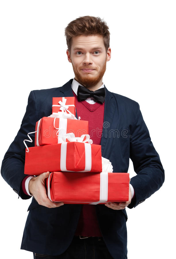 Free Young Man Hands A Lot Of Christmas Presents Royalty Free Stock Photo - 34342395
