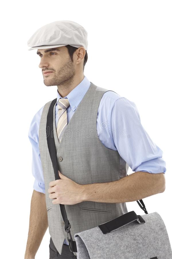 Download Young Man In Hat And Shoulder Bag Stock Photo - Image: 35810338