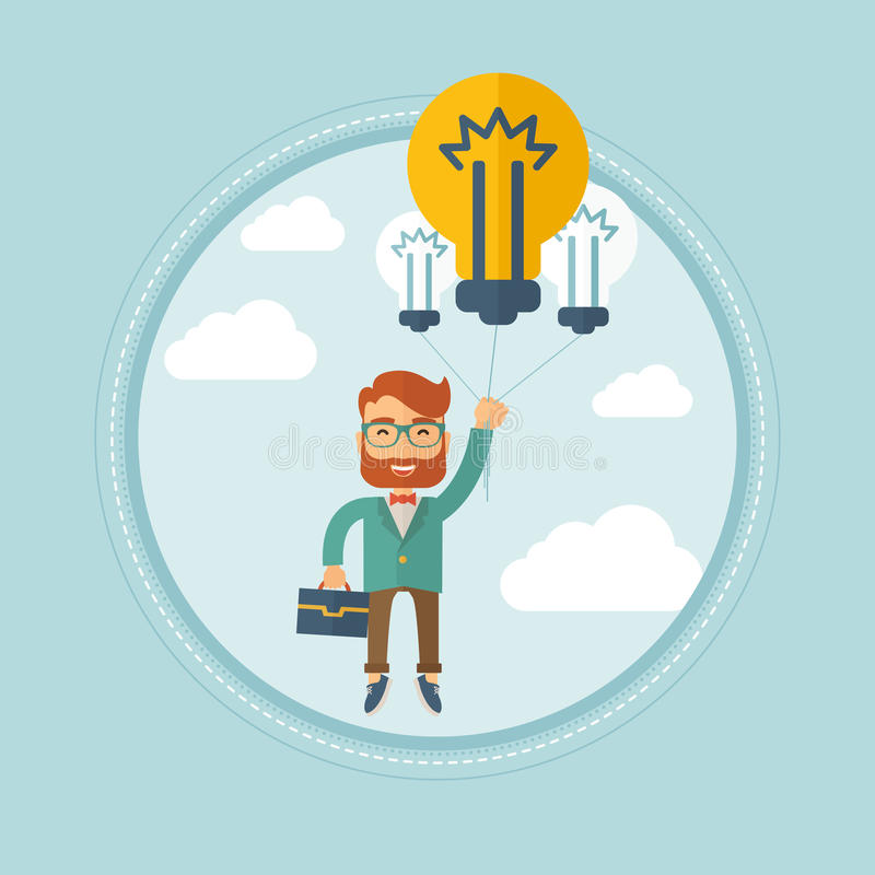 Young man having brilliant business idea. Excited hipster caucasian businessman with the beard flying with balloons made of light bulbs. Successful business stock illustration