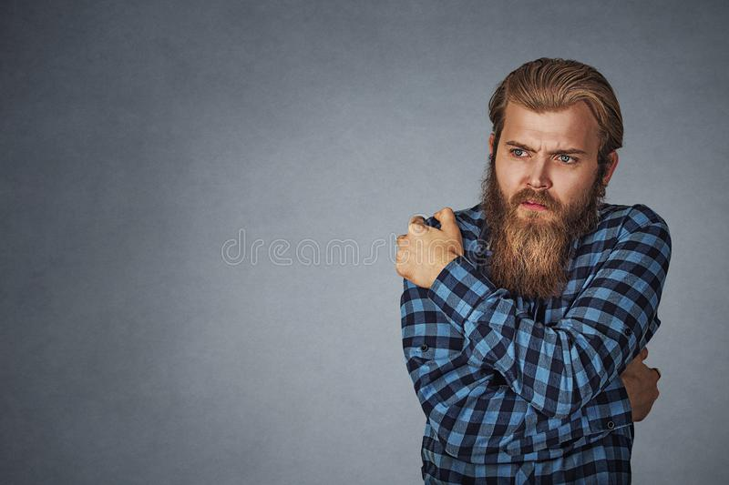 Young man having cold royalty free stock images