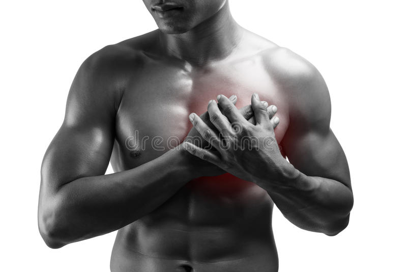 Young man having heart attack ,chest pain , isolated on white ba stock images