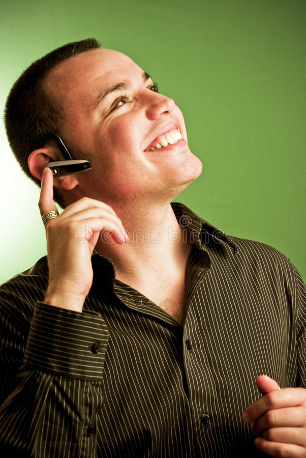 Young Man On Headset Royalty Free Stock Photo