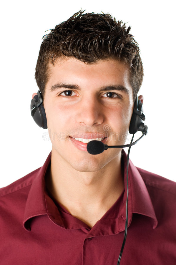 Download Young man with headset stock image. Image of looking, helpdesk - 9059377