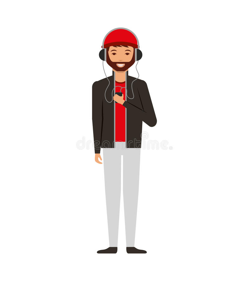 Young man with headset character. Illustration design stock illustration