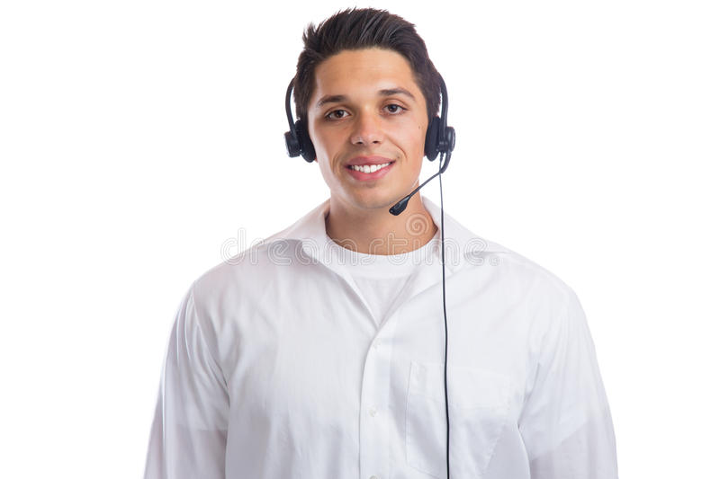 Young man with headset telephone phone call center agent portrait business isolated stock image