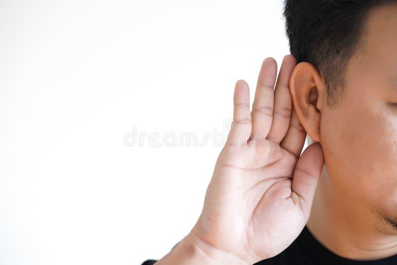 Young man hearing loss sound waves simulation technology Hear stock photo