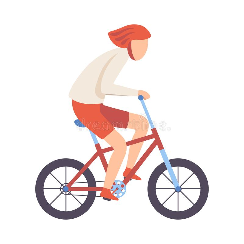 Young Man in Helmet Riding Bicycle, Cycling Guy Exercising, Active Healthy Lifestyle Vector Illustration. On White Background royalty free illustration