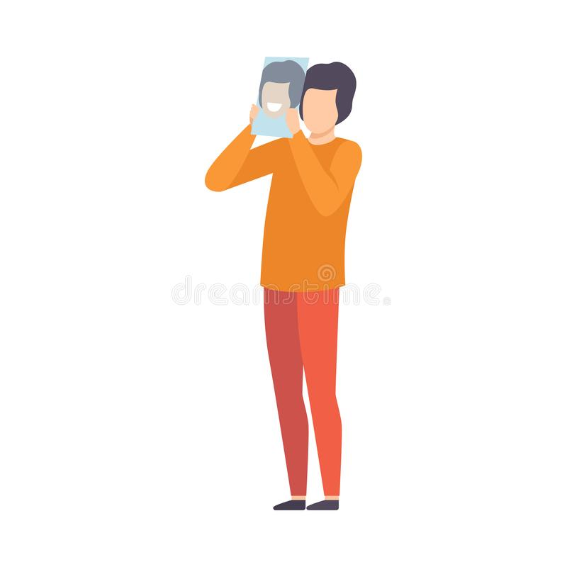 Young Man Hiding Real Emotion Behind Happy Mood Mask Vector Illustration vector illustration