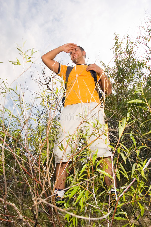 Download Young Man Hiker On The Hill Stock Image - Image: 6426947