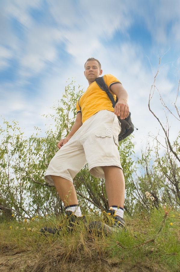 Download Young Man Hiker On The Hill Stock Image - Image: 8207289