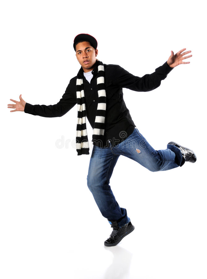 Young man hip-hop dancing stock photo