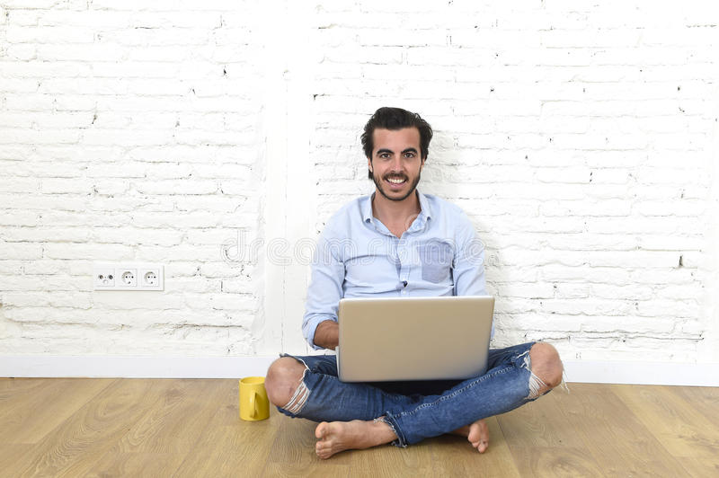 Young Man In Hipster Modern Casual Style Look Sitting On