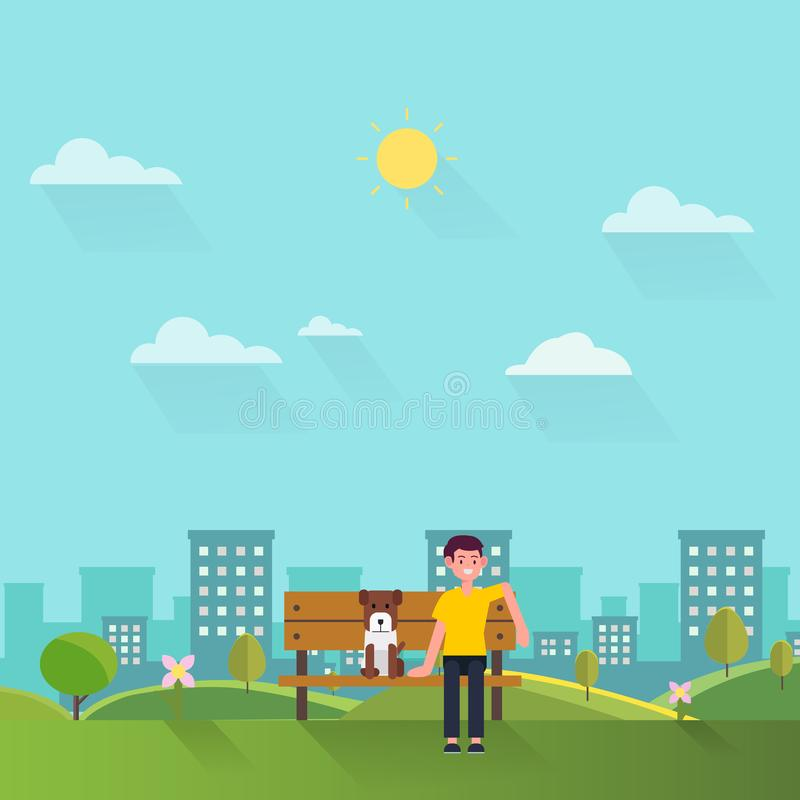 Young man and his dog sit on wooden bench in park with town background.Relax people in public park concept.Weekend summer day. Man in city nature royalty free illustration