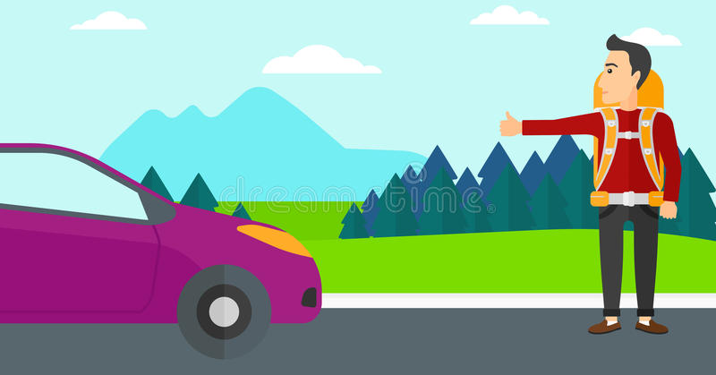 Young man hitchhiking. A man hitchhiking trying to stop a car on the background of mountains and trees vector flat design illustration. Horizontal layout stock illustration