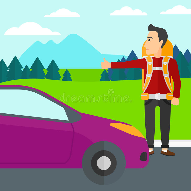 Young man hitchhiking. A man hitchhiking trying to stop a car on the background of mountains and trees vector flat design illustration. Square layout royalty free illustration