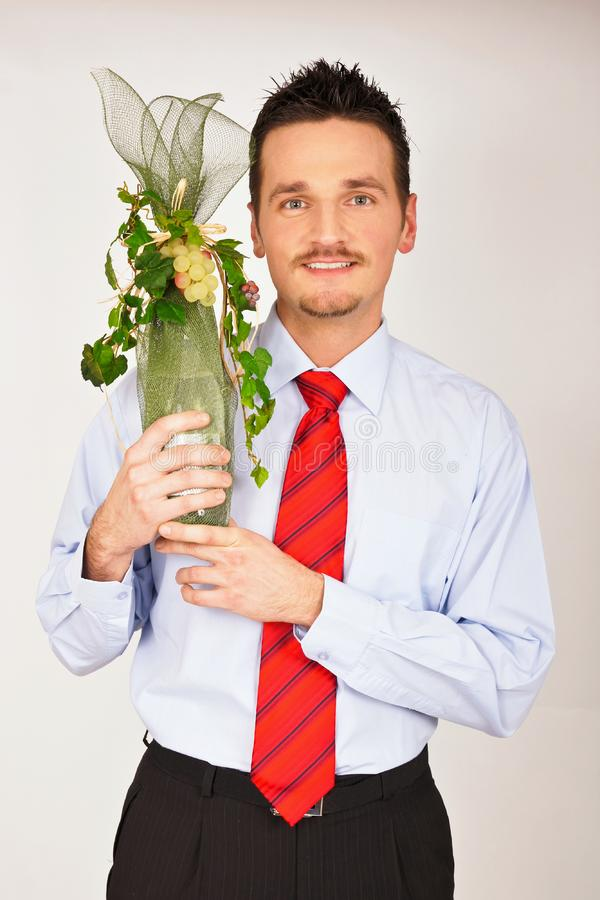 Young man hold gift royalty free stock images
