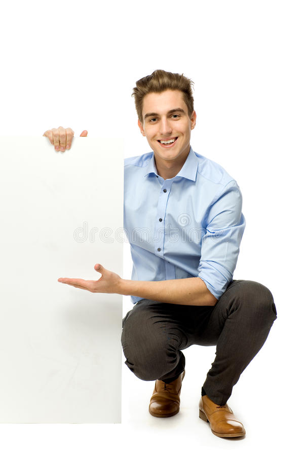 Download Young Man Holding Blank Board Stock Image - Image: 23630143
