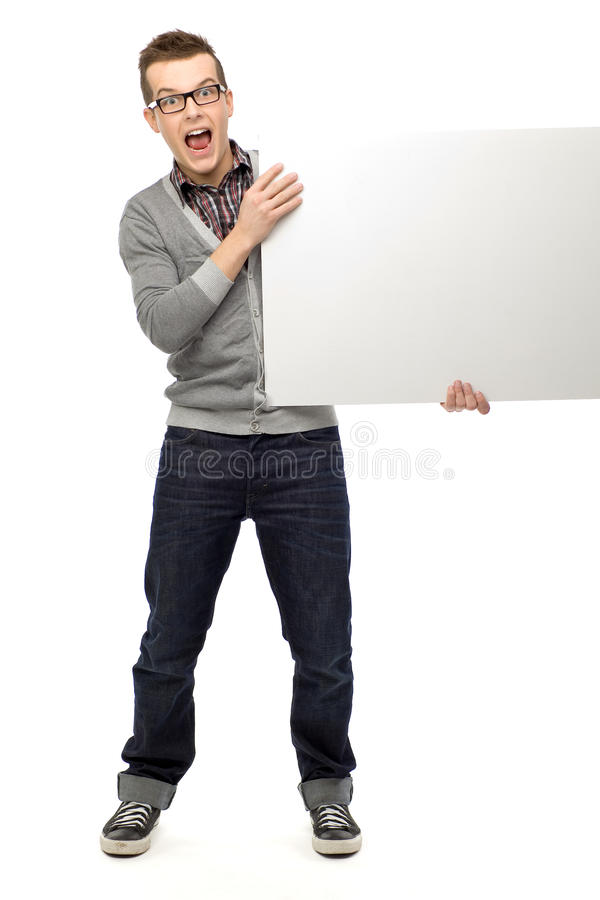 Download Young Man Holding Blank Placard Stock Image - Image: 23361575