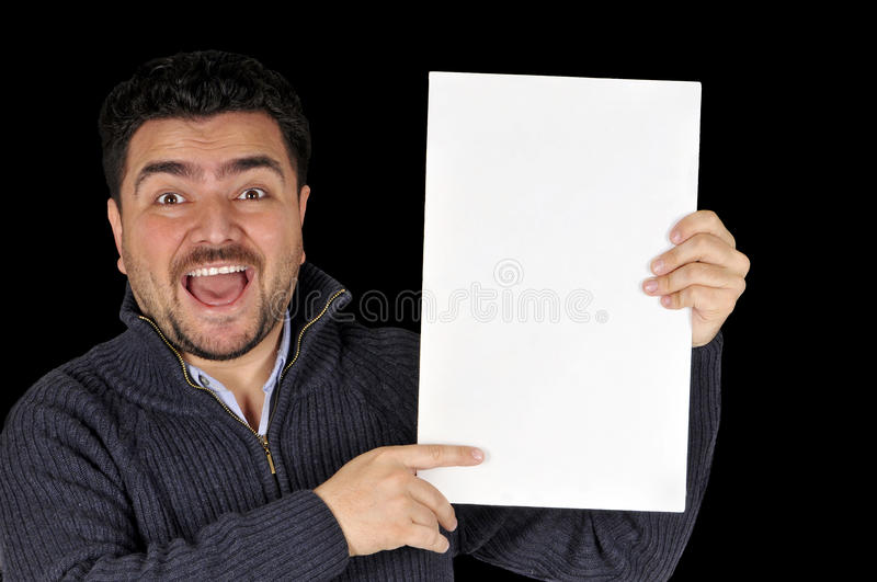 Young man holding blank sign. stock image