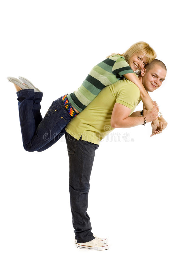 Young man holding his girlfriend stock photos