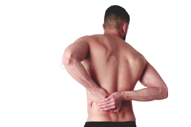 Young man holding his neck in pain. Medical concept.  royalty free stock photography