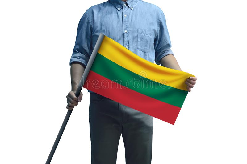 Young man holding Lithuania Flag in White Background stock photos