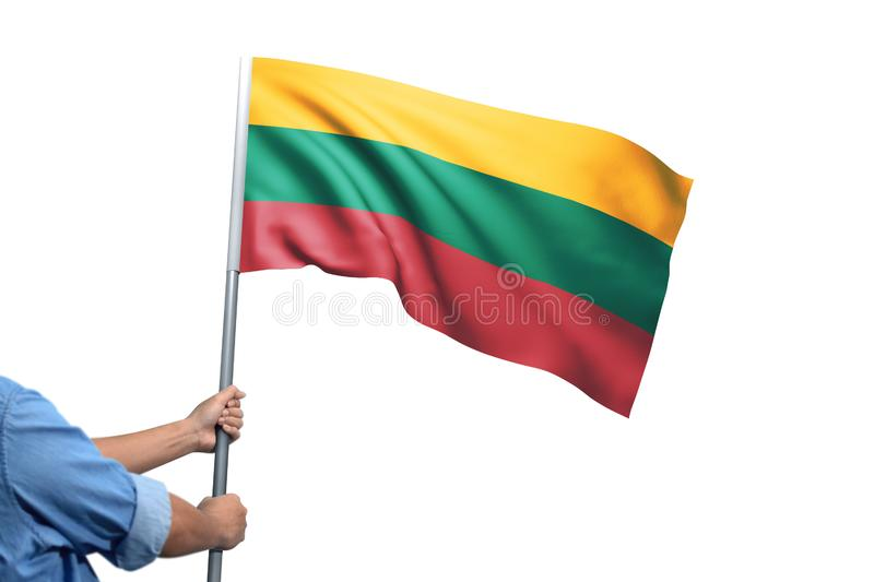 Young man holding Lithuania Flag in White Background royalty free stock photos