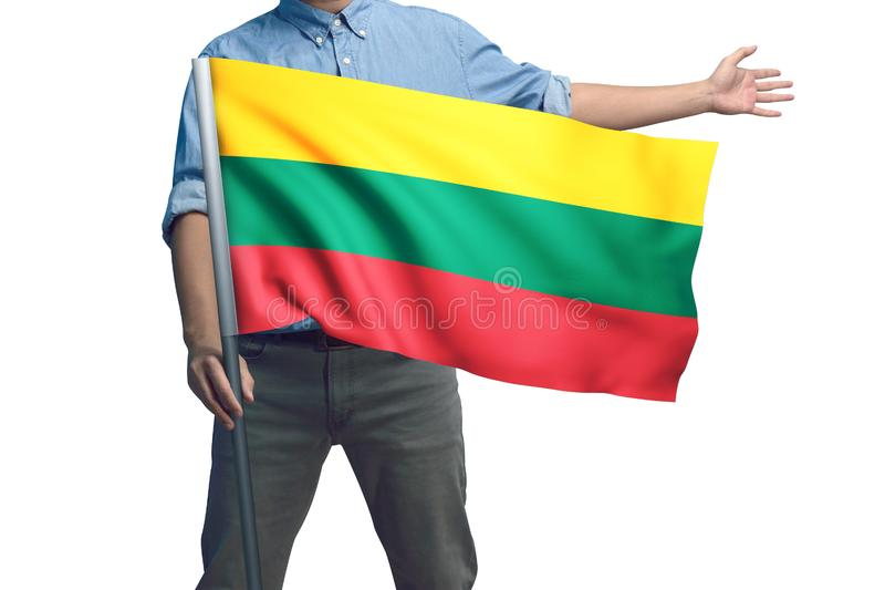 Young man holding Lithuania Flag in White Background stock photo