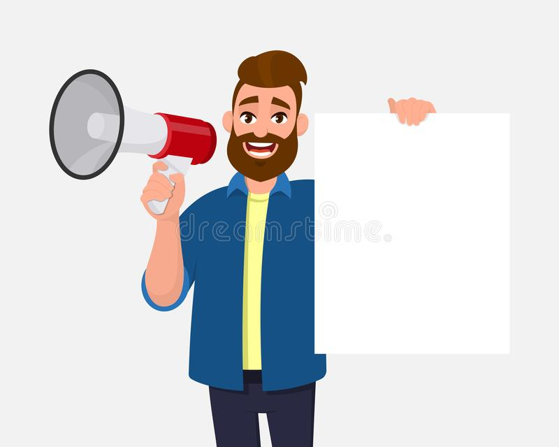 Young man holding a megaphone or loudspeaker & showing/displaying blank, empty white poster, sheet, paper, board. Man advertises. stock illustration