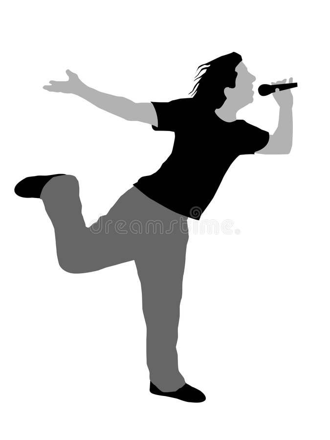 Young man holding microphone standing on one leg. On isolated background vector illustration