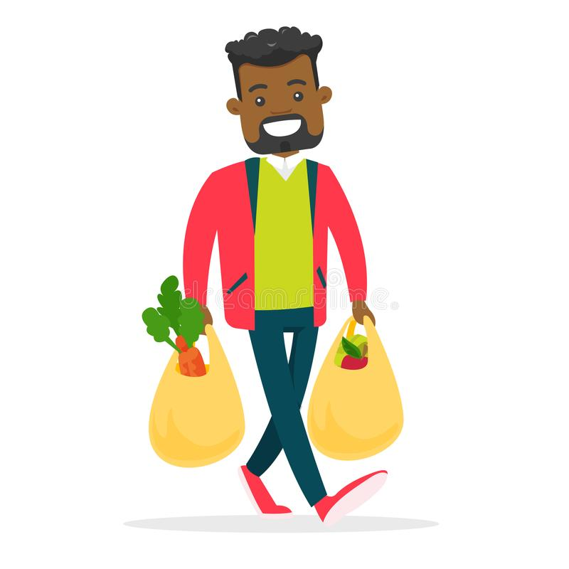 Young man holding shopping bags with groceries. vector illustration