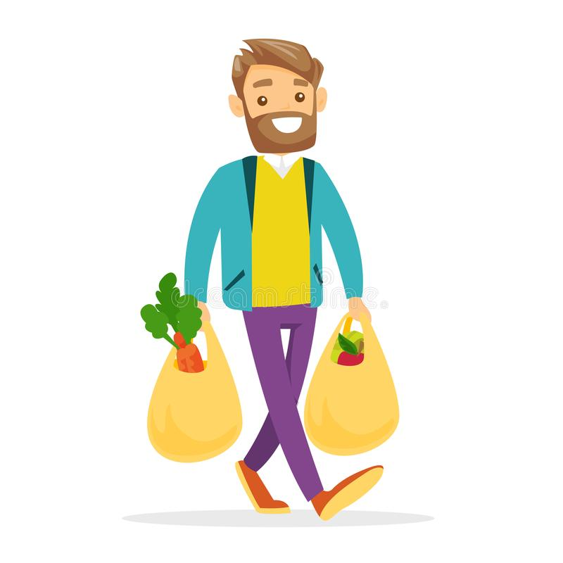 Young man holding shopping bags with groceries. stock illustration